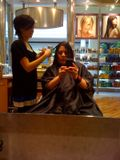 Erika cutting my hair