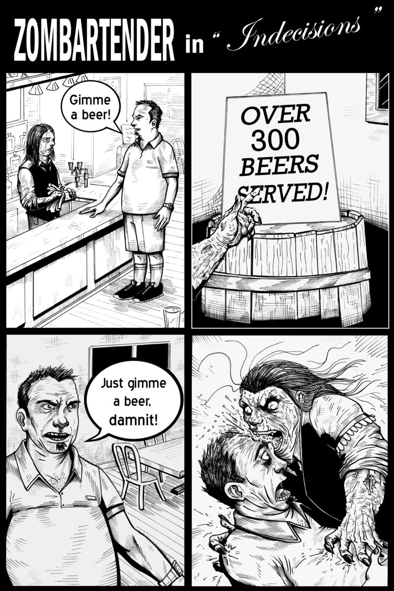 Zombartender in indecisions whole strip with title and word ballon copy