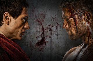Crassus (Simon Merrells), Spartacus (Liam McIntyre)